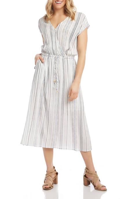 Karen Kane Womens Side Slit Crossover Dress