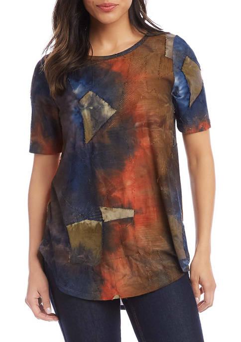 Karen Kane Womens Short Sleeve Shirttail Top