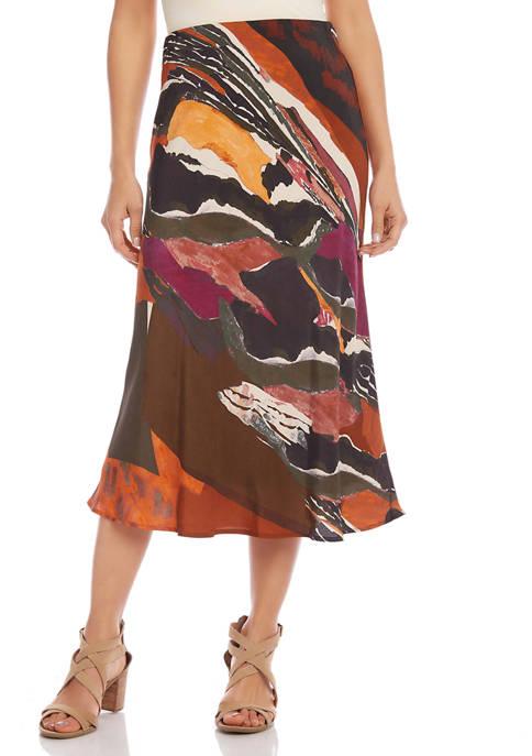 Womens Bias Cut Midi Skirt