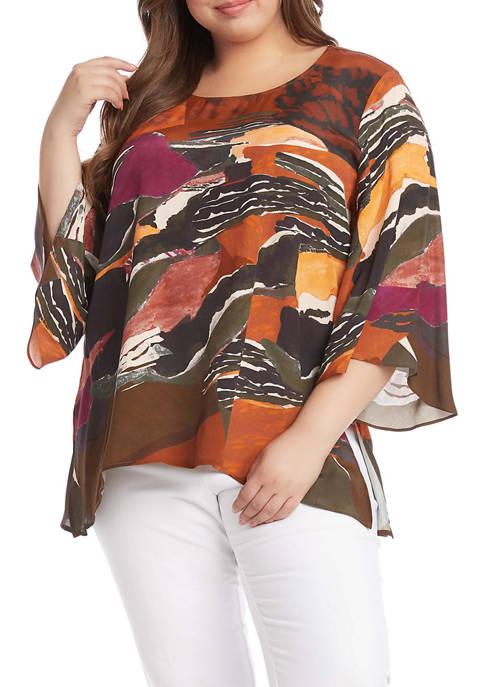 Karen Kane Plus Size 3/4 Sleeve Flare Hem