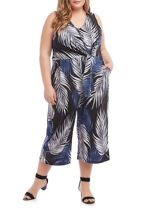 Karen Kane Plus Size Tie Front Jumpsuit