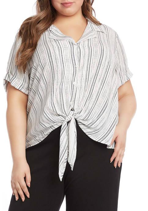 Karen Kane Plus Size Roll Sleeve Tie Front