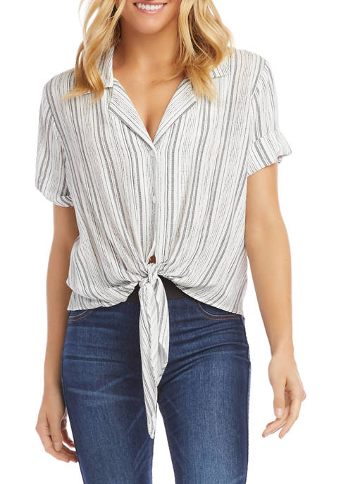 Womens Roll Sleeve Tie Front Top