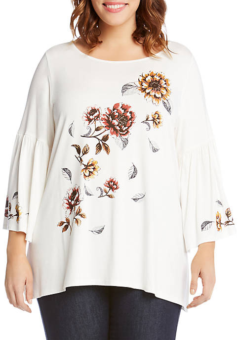 Karen Kane Plus Size Printed Flare Sleeve Top