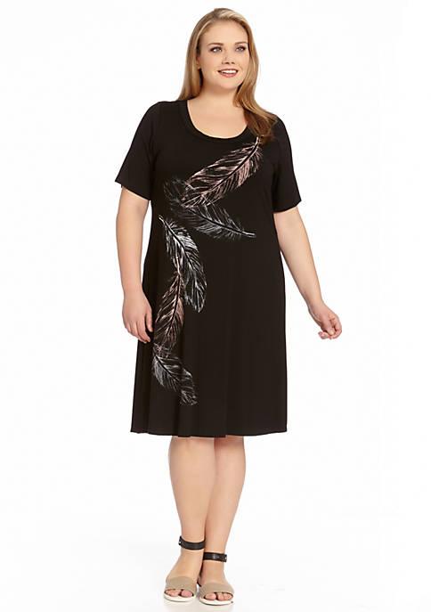 Karen Kane Plus Size Short Sleeve Feather Dress Belk