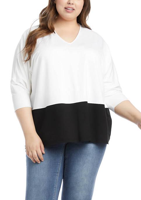 Karen Kane Plus Size 3/4 Sleeve Color Block