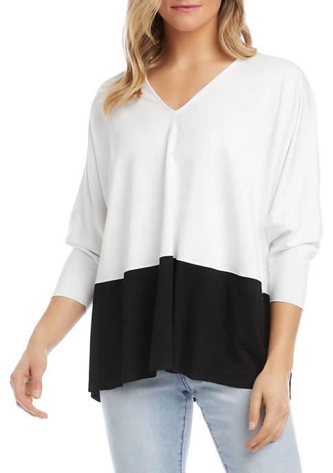 Karen Kane Womens 3/4 Sleeve Color Block Jersey