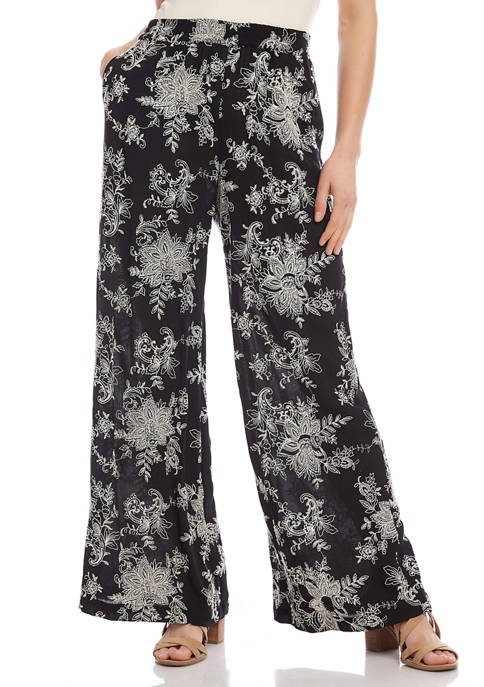 Womens Embroidered Wide Leg Pants