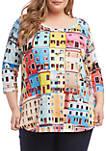 Plus Size 3/4 Sleeve Shirttail T Shirt