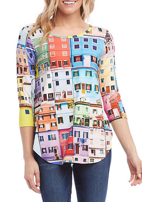 Karen Kane 3/4 Sleeve Shirttail T Shirt