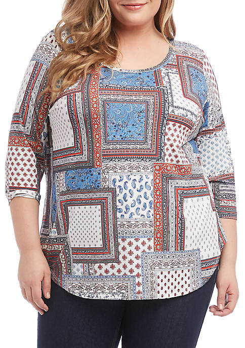Karen Kane Plus Size Shirttail Printed Tee