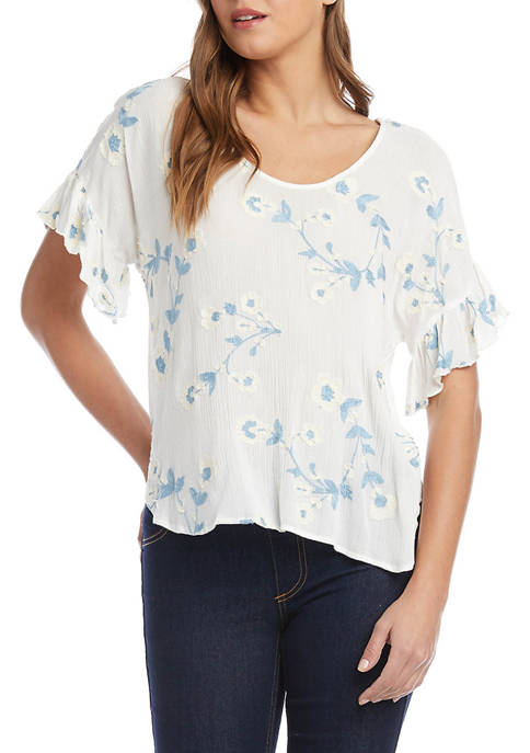 Womens Embroidered Ruffle Sleeve Top