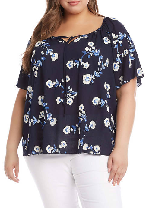 Karen Kane Plus Size Embroidered Flutter Sleeve Top
