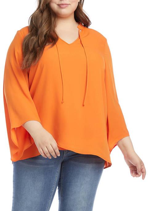 Karen Kane Plus Size Crepe Crossover Woven Top
