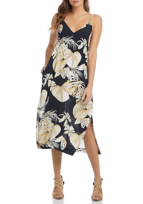 Karen Kane Womens Sleeveless Side Slit Floral Midi