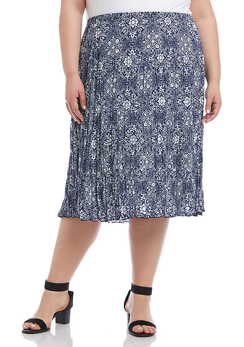 Plus Size Crushed Tiered Maxi Skirt