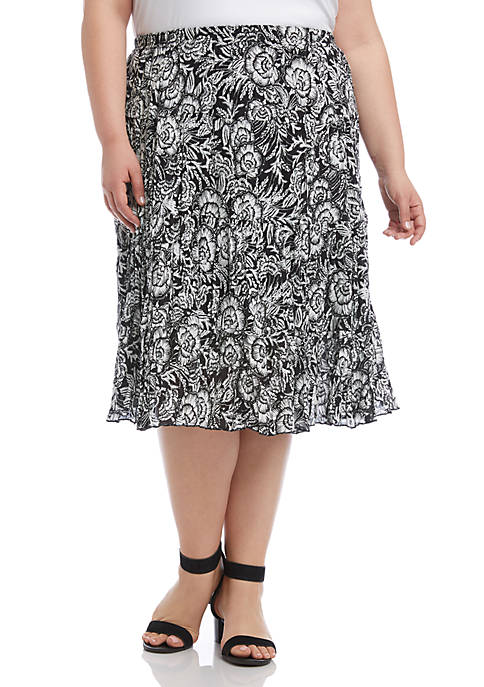 Plus Size Crushed Tiered Skirt