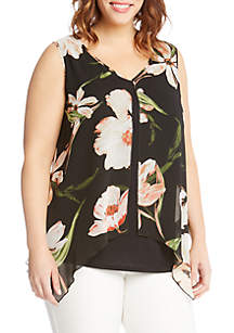 Plus Size Sheer Floral Overlay Top