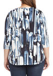 Plus Size 3/4 Sleeve Shirttail Top