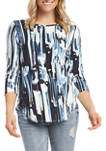 Womens 3/4 Sleeve Abstract Print Shirttail Top