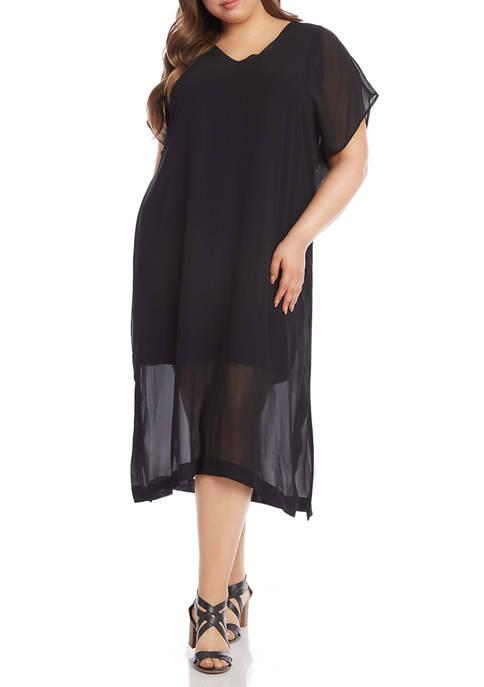 Karen Kane Plus Size V-Neck Side Slit Dress