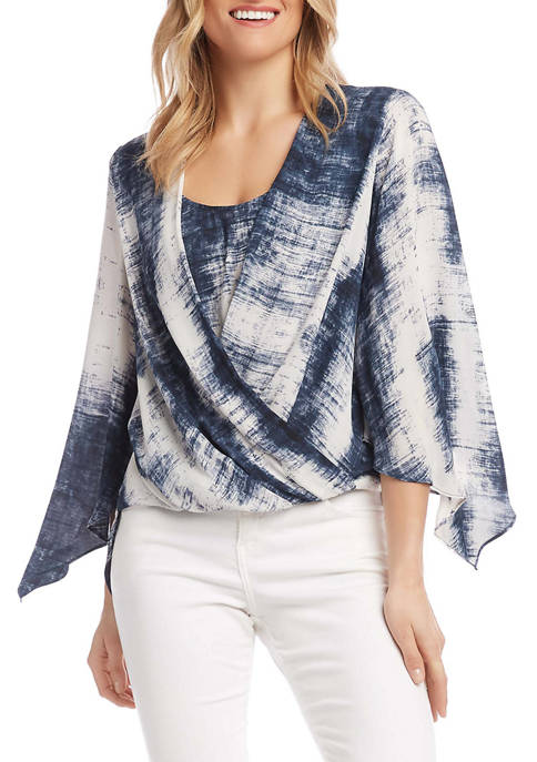 Womens Flare Sleeve Crossover Top