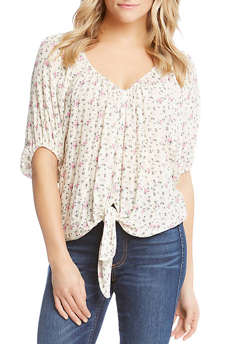 Karen Kane Mini Rose Tie Front Top