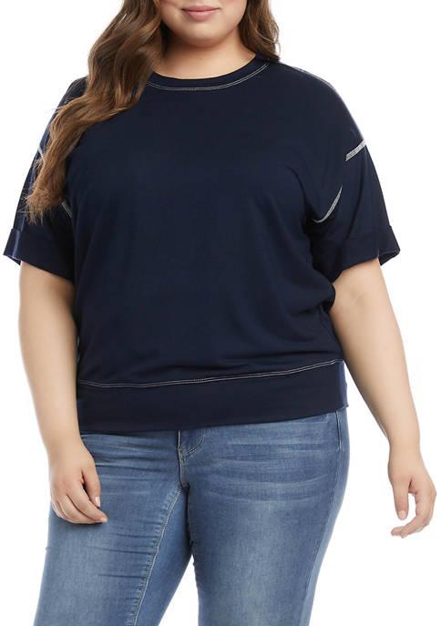 Karen Kane Plus Size Drop Shoulder Stitch Top