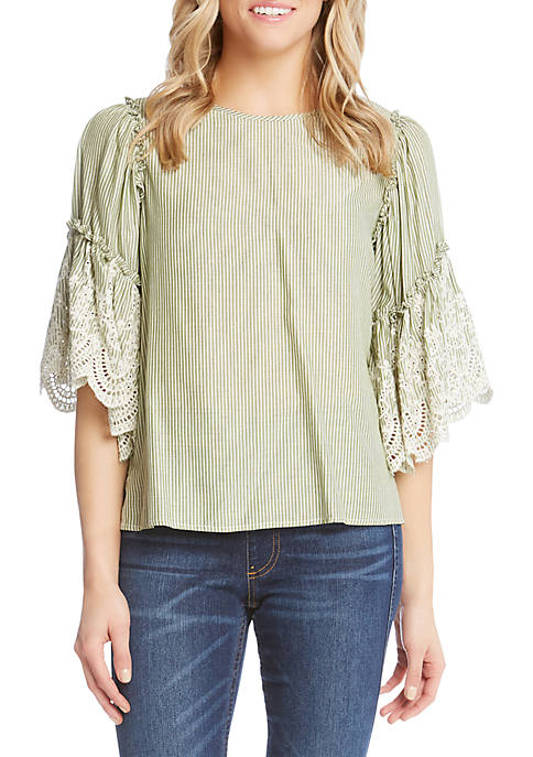 Karen Kane Embroidered Ruffle Sleeve Top