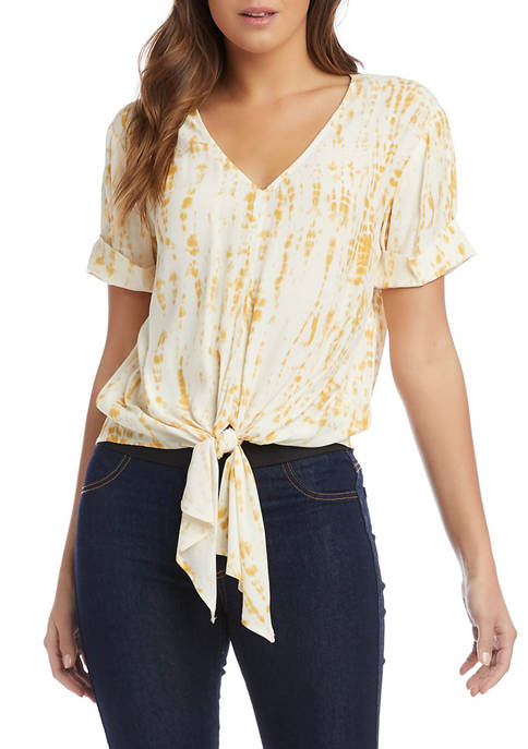 Womens Short Sleeve Tie Front Paint Splash Crepe Top