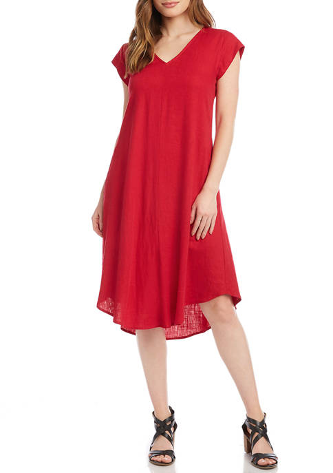 Womens V-Neck Dress with Pockets