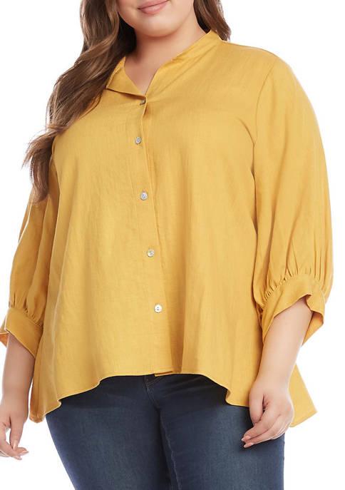 Karen Kane Plus Size Handkerchief Hem Linen Button