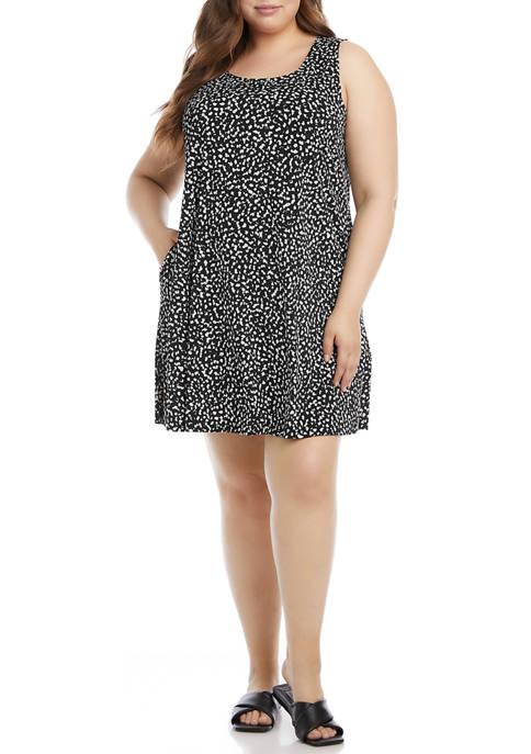 Plus Size Sleeveless Animal Printed Dress