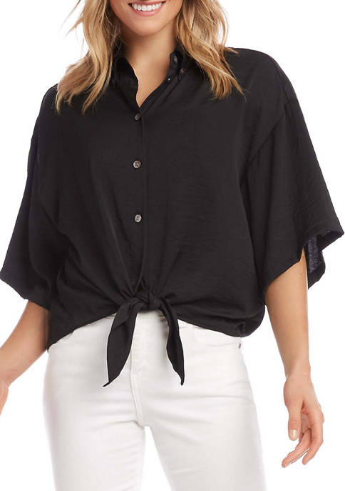 Karen Kane Womens Relaxed Tie-Front Shirt