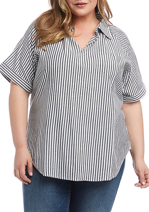 Plus Size Cuffed Short Sleeve Top