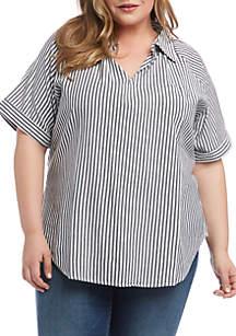 Karen Kane Plus Size Cuffed Short Sleeve Top