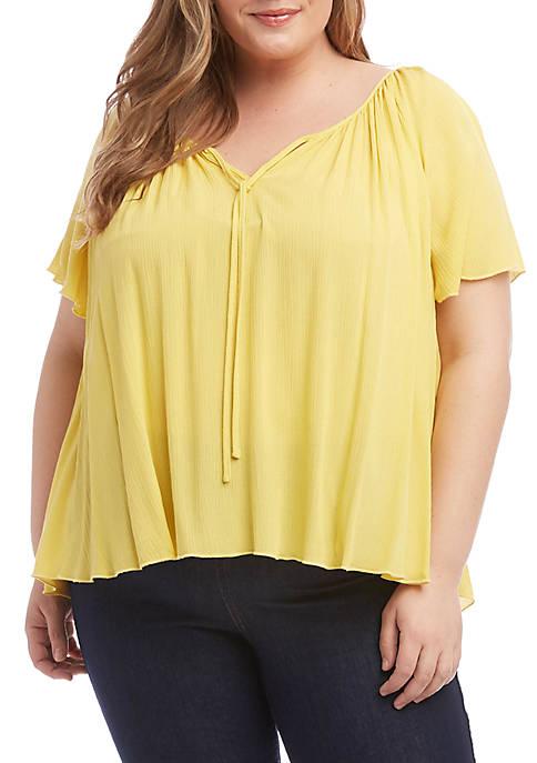 Karen Kane Plus Size Flutter Sleeve Top