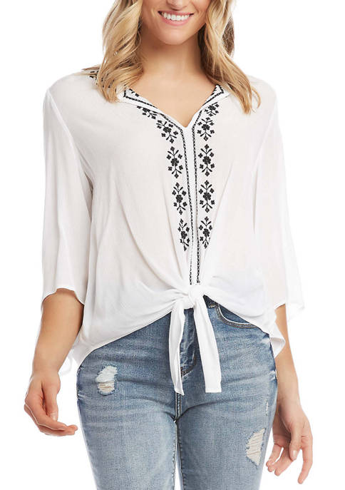 Womens Embroidered Tie Top