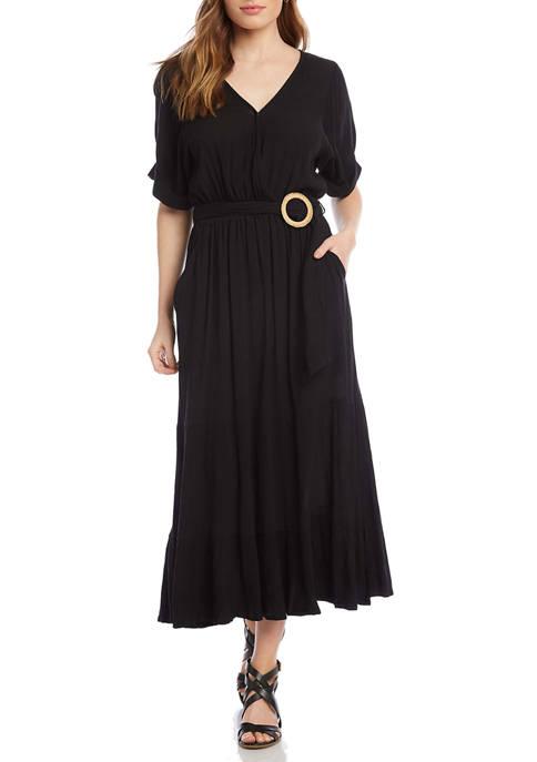 Womens Rattan Belt Midi Dress