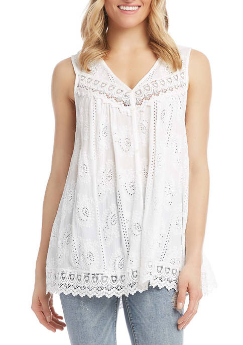 Karen Kane Womens Mixed Lace Eyelet Top