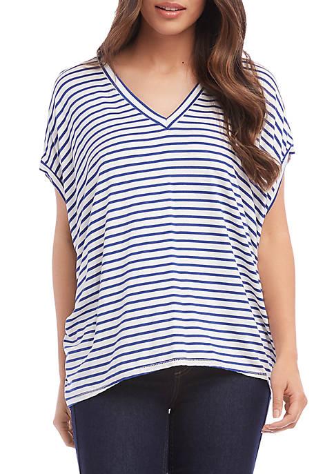 Karen Kane Petite Stripe High Low Top