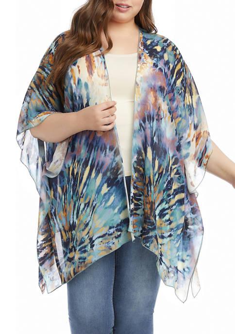 Karen Kane Plus Size Tie Dyed Open Front