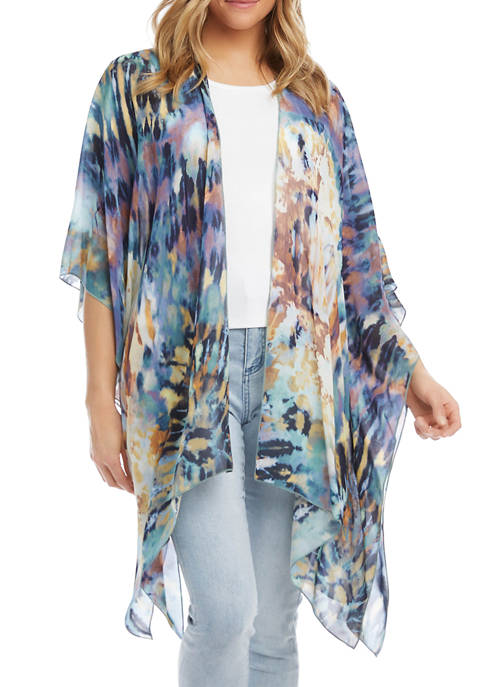 Womens Tie Dyed Open Front Kimono