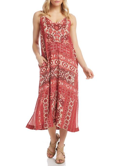 Karen Kane Womens Side Slit Midi Dress