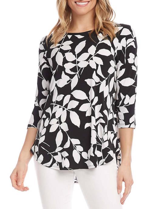 Karen Kane Womens 3/4 Sleeve Shirttail Top