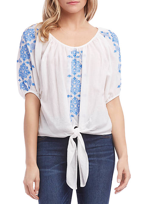 Karen Kane Embroidered Tie Top