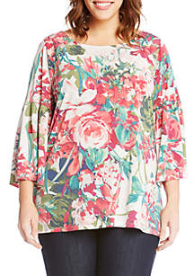 Plus Size Bell Sleeve Side-Slit Top