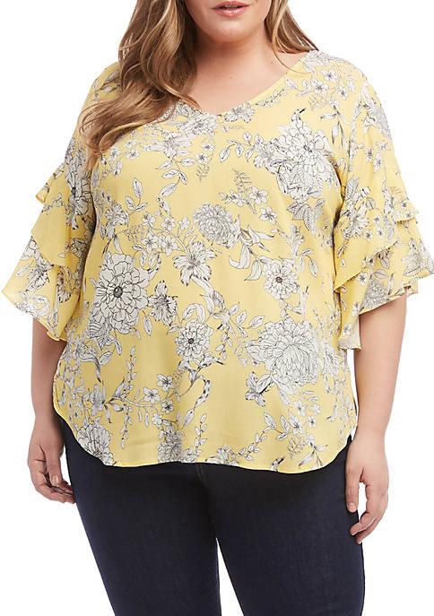 Karen Kane Plus Size Ruffle Sleeve Top