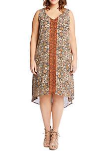 Plus Size V-Neck High Low Dress