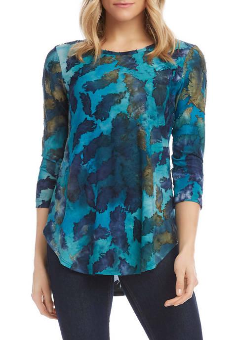 Womens 3/4 Sleeve Tie Dye Burnout T-Shirt